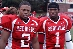 04 November 2006: Jesse Caesar (1) and Rafael Rice (2). In a decisive victory, the Illinois State Redbirds defeat the Missouri State Bears 38-14 at Hancock Stadium on the campus of Illinois State University in Normal Illinois.<br />