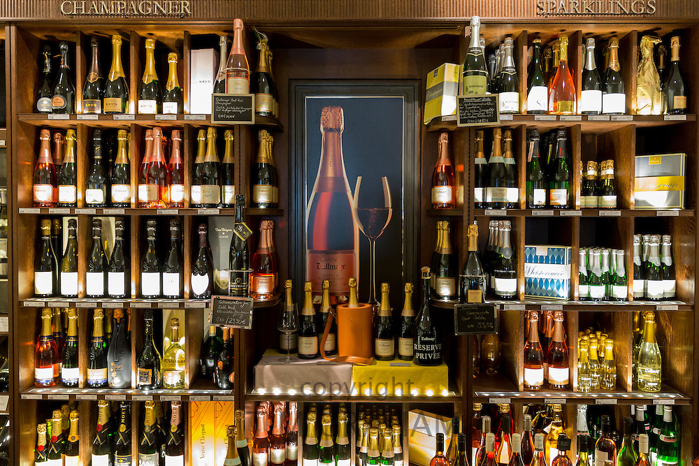 Champagne and Sparkling Wine on display at Dallmayr food store in Munich, Bavaria, Germany