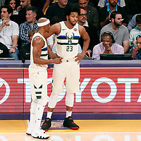 30 March 2018: Milwaukee Bucks guard Jason Terry (3) talks to Milwaukee Bucks guard Sterling Brown (23) during the Milwaukee Bucks 124-122 victory over the LA Lakers, at the Staples Center, Los Angeles, California, USA.