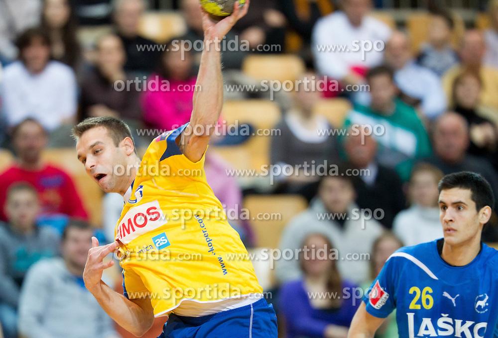 Matjaz Brumen of Cimos Koper  during handball match between RK Cimos Koper and RK Celje Pivovarna Lasko of NLB Leasing Prva Liga in season 2011/2012, on February 22, 2012 in Sports hall Bonifika,  Koper, Slovenia. (Photo By Vid Ponikvar / Sportida.com)