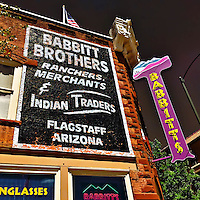 Retro street sign in USA on building exterior