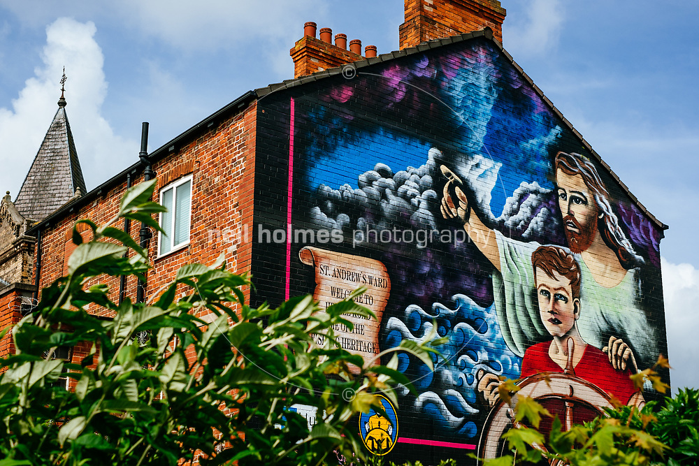 Hessle Road, Kingston Upon Hull, East Yorkshire, United Kingdom, 21 May, 2017. Pictured: Hessle Road Fishing Mural on the side of the old Post Office now Topcolor Fotoworx photo processors