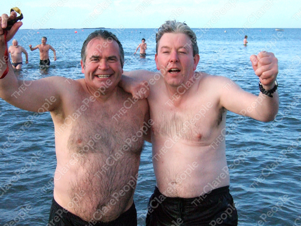 Tom Byrne and Martin Haugh at the Kilkee Sub Aqua Club Christmas Day swim