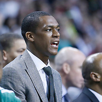 28 April 2013: Boston Celtics point guard Rajon Rondo (9) is seen on the bench during Boston Celtics overtime 97-90 victory over the New York Knicks during Game Four of the Eastern Conference Quarterfinals of the 2013 NBA Playoffs at the TD Garden, Boston, Massachusetts, USA.