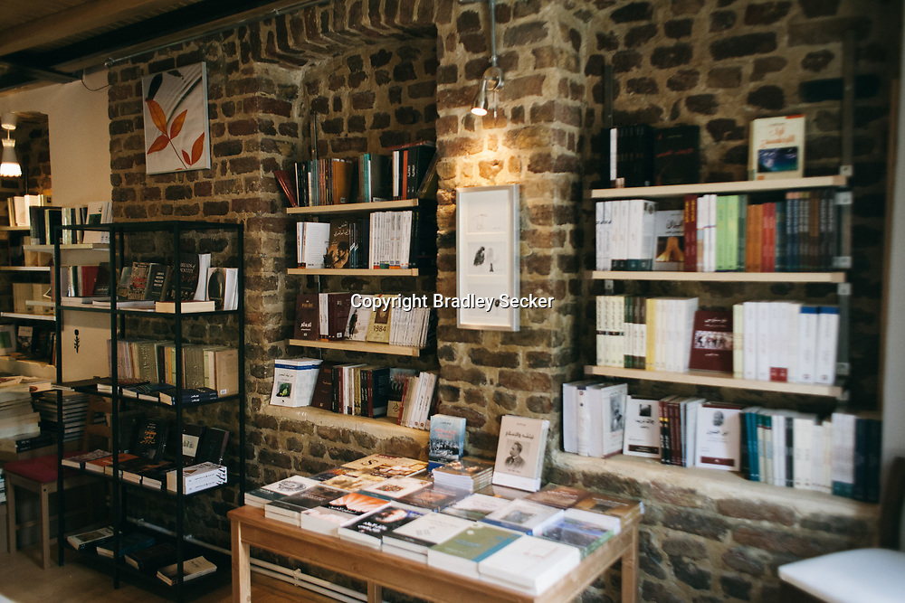 Books on display on the first floor of Pages bookshop and cafe in Fatih, Istanbul, Turkey.