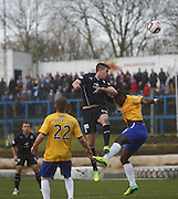 Declan Gallagher outjumps Nathaniel Wedderburn - Cowdenbeath v Dundee, SPFL Championship at Central Park<br /> <br />  - &copy; David Young - www.davidyoungphoto.co.uk - email: davidyoungphoto@gmail.com