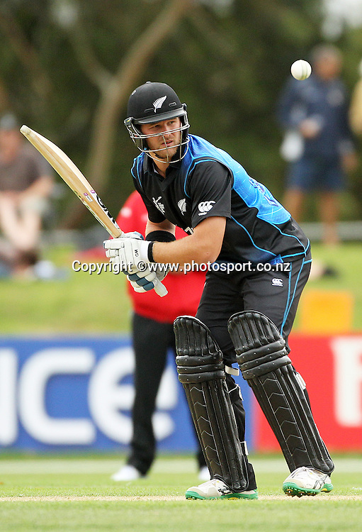 Corey Anderson of the Black Caps batting during the ICC Cricket World Cup warm up game between the Black Caps v Zimbabwe at Bert Sutcjliffe Oval, Lincoln, Christchurch. 9 February 2015 Photo: Joseph Johnson / www.photosport.co.nz