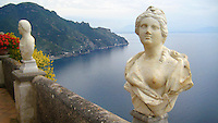 The view overlooking the Bay of Naples from the Villa Cimbrone in Italy.