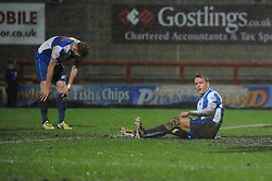 Bristol Rovers players cut dejected figures - Photo mandatory by-line: Dougie Allward/JMP - Tel: Mobile: 07966 386802 14/12/2013 - SPORT - Football - Morecombe - Globe Arena - Morecombe v Bristol Rovers - Sky Bet League Two