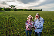 Perry and Jennifer Plett hold soil from their land on a wheat field next to their house. The land has been in the Plett family since it was homesteaded before Oklahoma statehood. The Plett's now lease some of the land to a local farmer to grow wheat.
