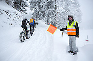 One of the marshals cheering the riders on during stage 5 of the first Snow Epic, the Trübsee climb near Engelberg, in the heart of the Swiss Alps, Switzerland on the 17th January 2015<br /> <br /> Photo by:  Nick Muzik / Snow Epic / SPORTZPICS