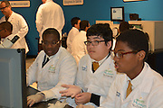 Mickey Leland ninth-grade biology students conduct various experiments in the Health Museum's DeBakey Cell Lab.