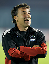 San Marino, San Marino - Wednesday, October 17, 2007: Wales' assistant coach Dean Saunders before the Group D UEFA Euro 2008 Qualifying match against San Marino at the Serravalle Stadium. (Photo by David Rawcliffe/Propaganda)