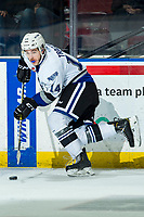 KELOWNA, BC - MARCH 11: Brayden Tracey #14 of the Victoria Royals skates with the puck during second period against the Kelowna Rockets at Prospera Place on March 11, 2020 in Kelowna, Canada. (Photo by Marissa Baecker/Shoot the Breeze)