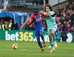 October 28, 2018 - London, England, United Kingdom - London, England - October 28, 2018.Crystal Palace's Cheikhou Kouyate holds of Matteo Guendouzi of Arsenal.during Premier League between Crystal Palace and Arsenal at Selhurst Park stadium , London, England on 28 Oct 2018. (Credit Image: © Action Foto Sport/NurPhoto via ZUMA Press)