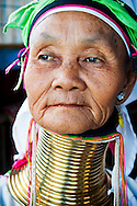"Portrait of a senior woman from the Padaung tribe (a.k.a. ""Long Neck"" tribe) at Inle Lake, Myanmar"