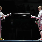 Fencing - Olympics: Day 1  Emese Szasz, (right), Hungary and  Rossella Fiamingo, Italy, prepare for their gold medal match during the Women's Épée Individual Final at Carioca Arena 3 on August 6, 2016 in Rio de Janeiro, Brazil. (Photo by Tim Clayton/Corbis via Getty Images)