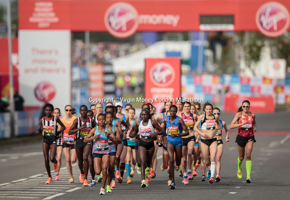 Mare Dibaba ETH leads the Women&rsquo;s Race away from the blue start at Blackheath. The Virgin Money London Marathon, 23rd April 2017.<br /> <br /> Photo: Ben Queenborough for Virgin Money London Marathon<br /> <br /> For further information: media@londonmarathonevents.co.uk