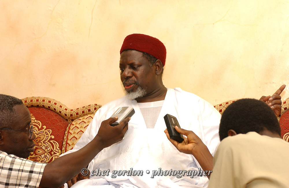KAOLACK, SENEGAL.  Sheikh Hassan Ali Cisse is interviewed in his home on Wednesday, November 1, 2006. Sheikh Hassan Ali Cisse is the Chief Imam of the Grand Mosque in Medina Kaolack, Senegal and one of the leaders of the Tariqa Tijaniyya, a Sufi order based exclusively on Qur'an and Hadith. A respected Islamic scholar and leader, Shaykh Hassan Cisse has been appointed to the Ulaama of the Islamic Republic of Mauritania and Special Advisor on Islamic Affairs to the Republic of Ghana . He is the founder and president of the African American Islamic Institute (AAII), an international Non-Governmental Organization (NGO) headquartered in Senegal , West Africa with affiliates throughout Africa, Europe and North America.   © Chet Gordon/ THE IMAGE WORKS