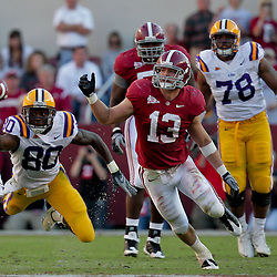 Nov 07, 2009; Tuscaloosa , AL, USA; LSU Tigers wide receiver Terrance Toliver (80) attempts to make a reception past Alabama Crimson Tide linebacker Cory Reamer (13) during the second quarter at Bryant Denny Stadium.  Mandatory Credit: Derick E. Hingle-US PRESSWIRE