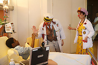 Clowns visit sick children in the cancer blood disease floor in Hospital St. Louis, a public assistance hospital, Paris....April 7, 2006....