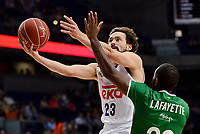 Real Madrid's Sergio Llull and Unicaja Malaga's Oliver Lafayette during semi finals of playoff Liga Endesa match between Real Madrid and Unicaja Malaga at Wizink Center in Madrid, May 31, 2017. Spain.<br /> (ALTERPHOTOS/BorjaB.Hojas)