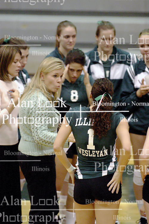 27 October 2006: Titan coach Kim Nelson-Brown talks to the team during a time out. The Bears won the match 3 games to 1. The match between the Washington University Bears and the Illinois Wesleyan Titans took place at Shirk Center on the IWU campus in Bloomington Illinois.<br />