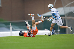 05 April 2008: Virginia Cavaliers midfielder Garett Ince (15) and UNC midfielder Sean Burke (42) during a 11-12 OT win over the North Carolina Tar Heels on Fetzer Field in Chapel Hill, NC.