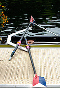 Lucerne, SWITZERLAND.   USA M4X,  cull lay across the boat as the crew are at the medal ceremony2008 FISA World Cup Regatta, Round 2.  Lake Rotsee, on Sunday 01/06/2008.  [Mandatory Credit:  Peter Spurrier/Intersport Images].Lucerne International Regatta. Rowing Course, Lake Rottsee, Lucerne, SWITZERLAND.