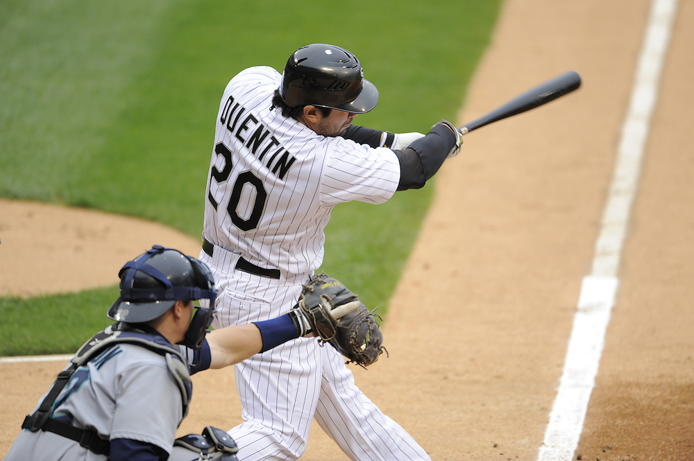 CHICAGO - APRIL 28:  Carlos Quentin #20 of the Chicago White Sox bats against the Seattle Mariners during the first game of a doubleheader on April 28, 2009 at U.S. Cellular Field in Chicago, Illinois.  The White Sox defeated the Mariners 2-1.  (Photo by Ron Vesely)