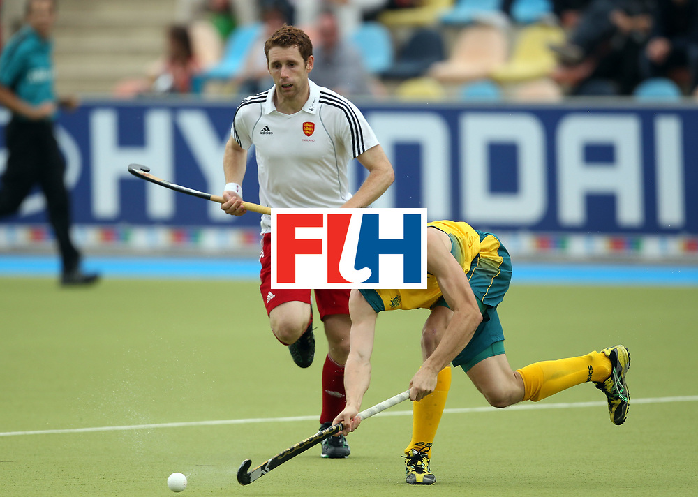 Mens Champions Trophy, Monchengladbach, Germany, 2010<br /> Day 6, 8/8/10, Mens Final, Australia v England<br /> Simon Orchard in action with Englands Jonty Clarke in pursuit<br /> Credit: Grant Treeby<br /> <br /> Editorial use only (No Archiving) Unless previously arranged