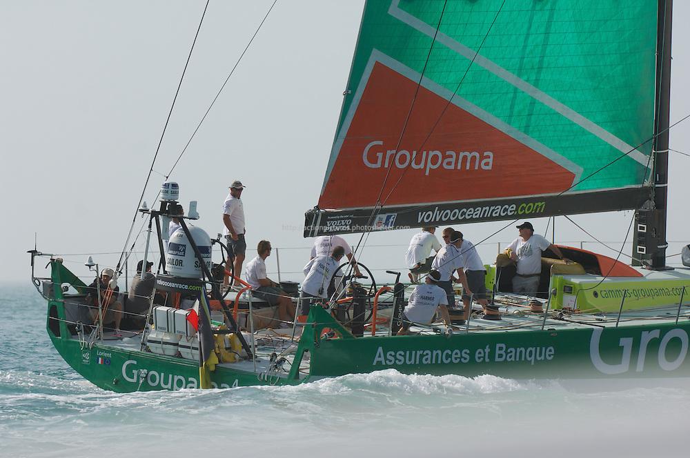 volvo ocean race, abu dhabi UAE January 2012.Groupama team.skiper franck Cammas