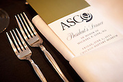 Chicago, IL - ASCO 2012 Annual Meeting: -  Setup at President's Dinner at the American Society for Clinical Oncology (ASCO) Annual Meeting here today, Saturday June 2, 2012.  Over 25,000 physicians, researchers and healthcare professionals from over 100 countries are attending the meeting which is being held at the McCormick Convention center and features the latest cancer research in the areas of basic and clinical science. Photo by © ASCO/Scott Morgan 2012 Technical Questions: todd@toddbuchanan.com; ASCO Contact: photos@asco.org