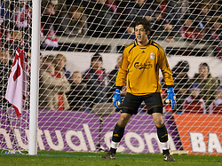 WARRINGTON, ENGLAND - Tuesday, February 26, 2008: Liverpool's goalkeeper Dean Bouzanis in action against Manchester United during the FA Premiership Reserves League (Northern Division) match at the Halliwell Jones Stadium. (Photo by David Rawcliffe/Propaganda)
