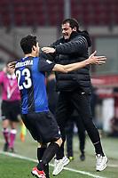 """Esultanza di Andrea Ranocchia Dejan Stankovic Inter dopo il gol.goal celebration.Milano 10/02/2013 Stadio """"San Siro"""".Football Calcio Serie A 2012/13.Inter v Chievo Verona.Foto Insidefoto Paolo Nucci."""
