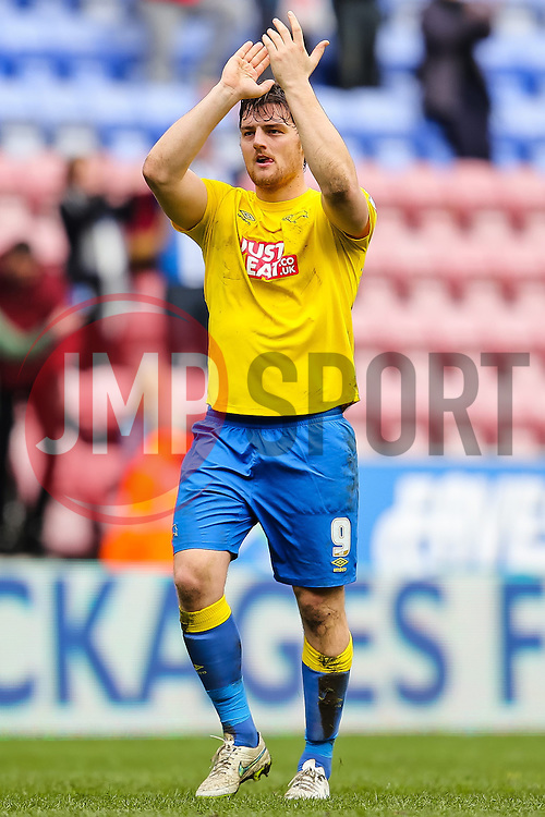Chris Martin of Derby County applauds the fans - Photo mandatory by-line: Matt McNulty/JMP - Mobile: 07966 386802 - 06/04/2015 - SPORT - Football - Wigan - DW Stadium - Wigan Athletic v Derby County - SkyBet Championship