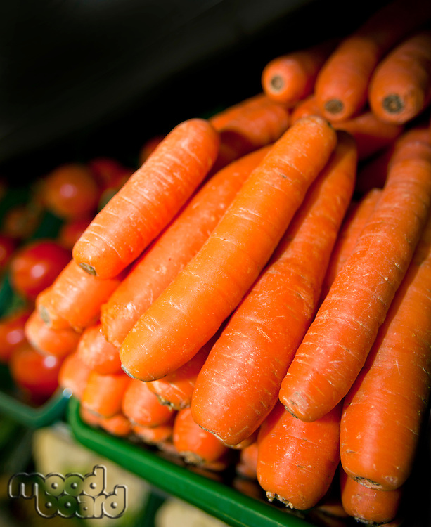 Close-up of fresh carrots in supermarket