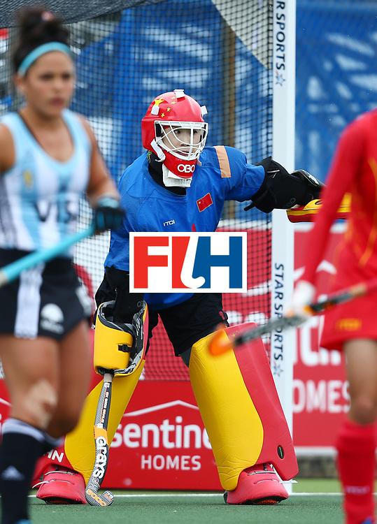 New Zealand, Auckland - 18/11/17  <br /> Sentinel Homes Women&rsquo;s Hockey World League Final<br /> Harbour Hockey Stadium<br /> Copyrigth: Worldsportpics, Rodrigo Jaramillo<br /> Match ID: 10294 - ARG vs CHN<br /> Photo: (1) LI Dongxiao&nbsp;(GK) (C)