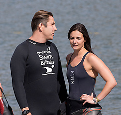 David Walliams and British Olympic swimmer Keri-anne Payne.Celebrities take part in the British Gas SwimBritain at Blenheim Palace, Oxfordshire, United Kingdom. Sunday, 1st September 2013. Picture by i-Images