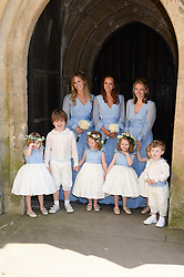 Bridesmaids and page boys at the wedding of Lady Natasha Rufus Isaacs to Rupert Finch held at St.John The Baptist Church, Cirencester, Gloucestershire, UK on 8th June 2013.