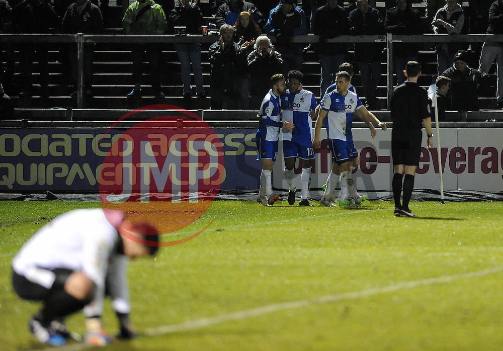 Despair for Braintree Town's Nick Hamann as Bristol Rovers celebrate Bristol Rovers' Ellis Harrison goal - Photo mandatory by-line: Neil Brookman/JMP - Mobile: 07966 386802 - 24/02/2015 - SPORT - Football - Bristol - Memorial Stadium - Bristol Rovers v Braintree - Vanarama Football Conference