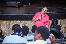 Cuban Jazz trumpeter, pianist, and composer Arturo Sandoval plays alongside local high school and college musicians and answers questions about his life, inspiration, and performances at Reichhold Center for the Arts.  St. Thomas, USVI.  2 October 2015.  © Aisha-Zakiya Boyd