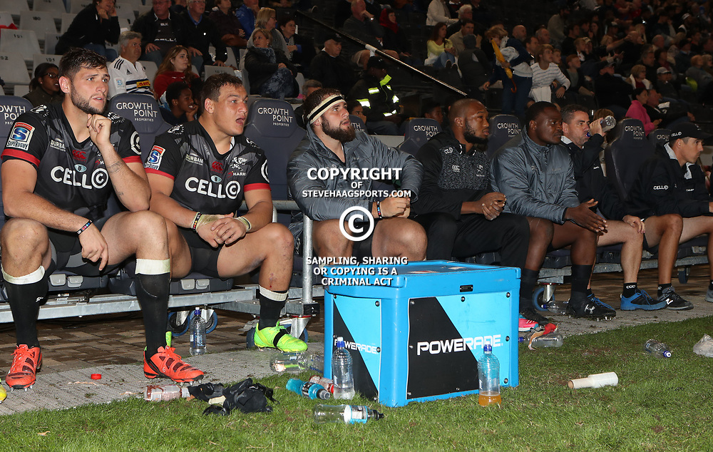 DURBAN, SOUTH AFRICA - MAY 27: General views of the sharks bench during the Super Rugby match between Cell C Sharks and DHL Stormers at Growthpoint Kings Park on May 27, 2017 in Durban, South Africa. (Photo by Steve Haag/Gallo Images)