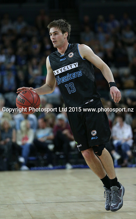 Breakers` Shane McDonald in an ANBL Basketball Match, New Zealand Breakers v Townsville Crocodiles, Vector Arena, Auckland, New Zealand, Sunday, October 11, 2015. Copyright photo: David Rowland / www.photosport.nz