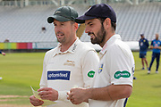 Captains Ned Eckersley (Durham) & Paul Horton (Leics) before the Specsavers County Champ Div 2 match between Durham County Cricket Club and Leicestershire County Cricket Club at the Emirates Durham ICG Ground, Chester-le-Street, United Kingdom on 18 August 2019.