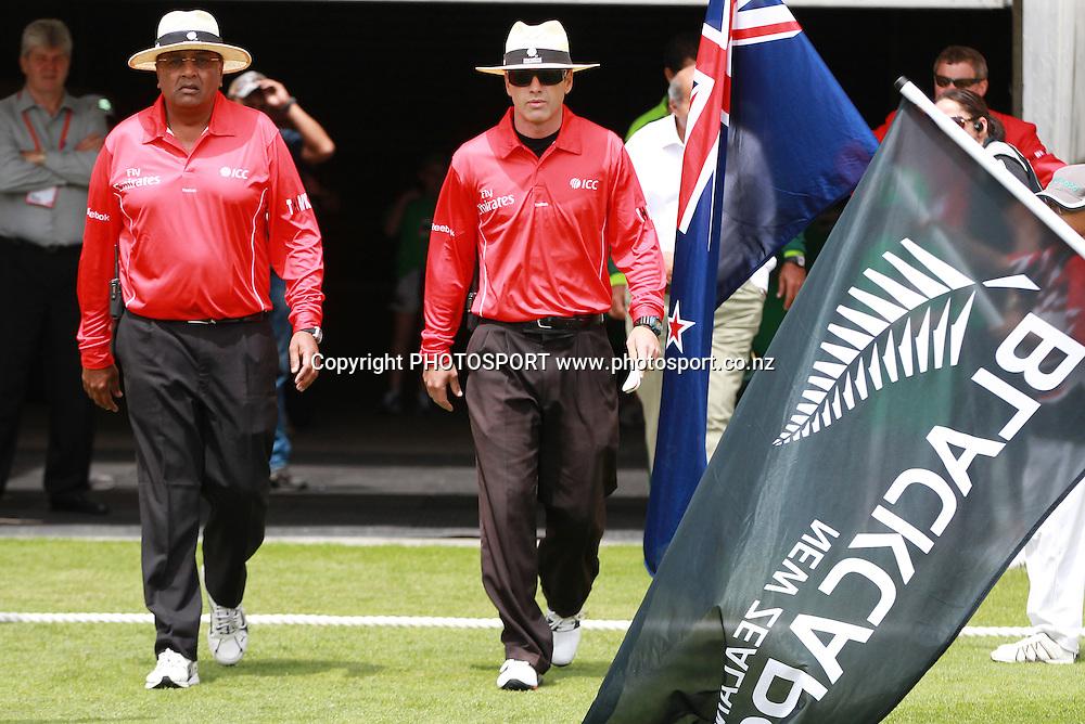 ICC Umpires Amiesh Saheba and Chris Gaffaney. New Zealand Black Caps v Pakistan, ODI Cricket. Match 1, Westpac Stadium, Wellington, New Zealand. Saturday 22 January 2011. Photo: Andrew Cornaga/photosport.co.nz