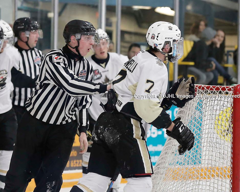 TRENTON, ON  - MAY 3,  2017: Canadian Junior Hockey League, Central Canadian Jr. &quot;A&quot; Championship. The Dudley Hewitt Cup. Game 4 between the Georgetown Raiders and Trenton Golden Hawks. OHA Linesman sends Brandon Marinelli #7 of the Trenton Golden Hawks to the penalty box <br /> (Photo by Amy Deroche / OJHL Images)