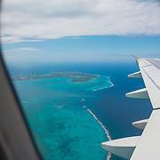 Grand Cayman Island from airplane window.