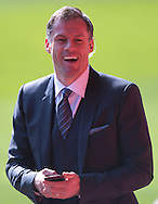 Former Liverpool player Jamie Carragher laughs before the Barclays Premier League match at Anfield, Liverpool<br /> Picture by Russell Hart/Focus Images Ltd 07791 688 420<br /> 22/03/2015