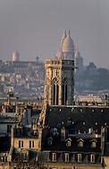 France. Paris. elevated view on the Sacre Coeur. Panoramic view on the north of Paris , Sacre coeur, Seine River, Saint Germain l'Auxerrois church  city island , Henri IV statue  view from Citadines apart' hotel  Saint Germain